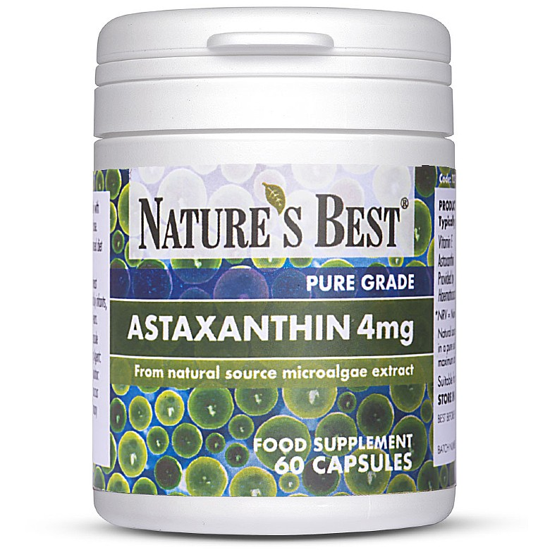 Food Supplements Astaxanthin 4Mg, Natural Source Microalgae 60 Capsules