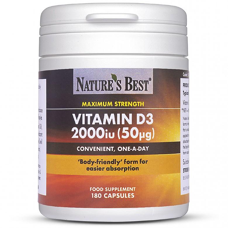 Vitamin D3 2000Iu, Maximum Strength 180 Capsules