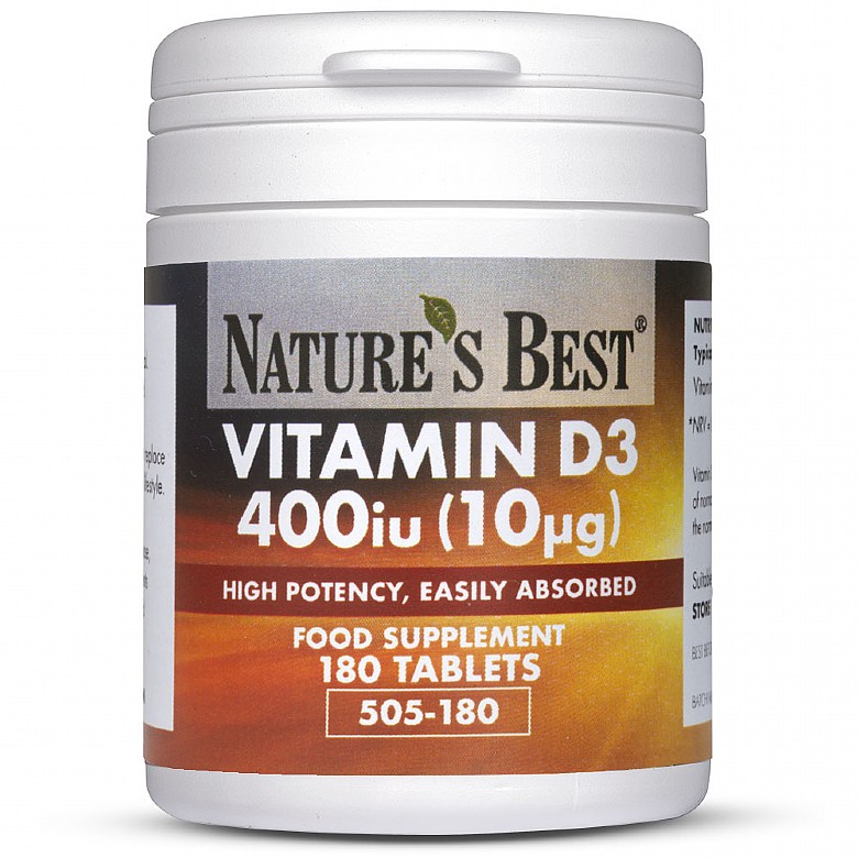 Vitamin D3 400Iu, Highly Absorbable Pure Grade Formula 180 Tablets