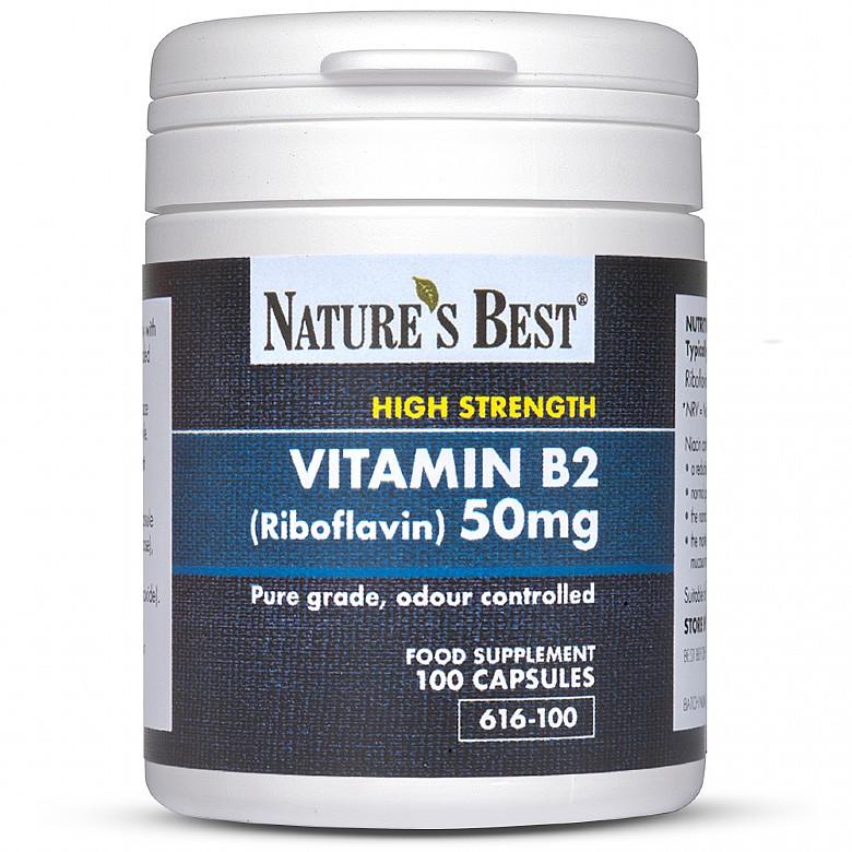 Vitamin B2 50Mg (Riboflavin) 100 Capsules