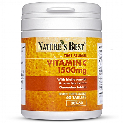 Vitamin C 1500mg, Time Release Formula With Rosehips & Bioflavonoids