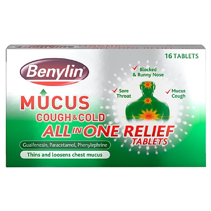 Benylin Mucus Cough & Cold All in One Relief Tablets - 16