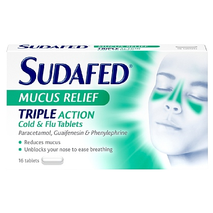 Sudafed Mucus Relief Triple Action Cold & Flu Tablets - 16