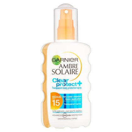 Garnier Ambre Solaire Clear Protect+ Medium SPF15 Transparent Body Protection Spray
