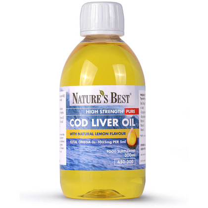 Cod Liver Oil Liquid, High Strength, Pure Omega 3s 1050mg/5ml