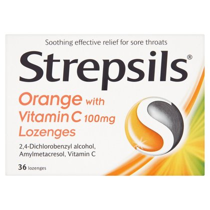 Strepsils Orange with Vitamin C Lozenges - 36