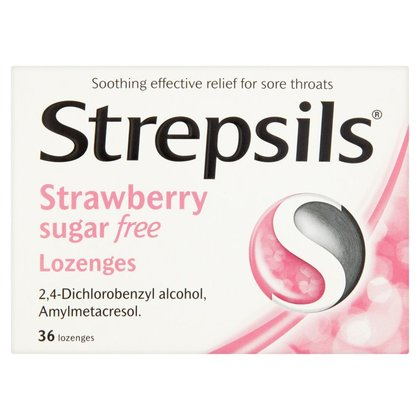 Strepsils Strawberry Sugar Free Lozenges - 36