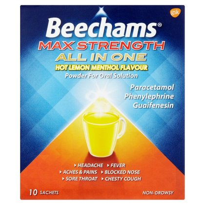 Beechams Ultra All In One Hot Lemon Menthol Sachets - 10