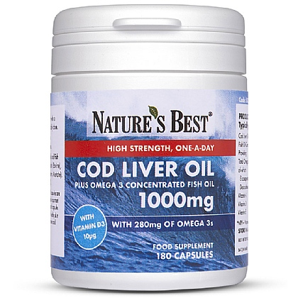Cod Liver Oil plus Omega 3 Concentrated Fish Oil 1000mg