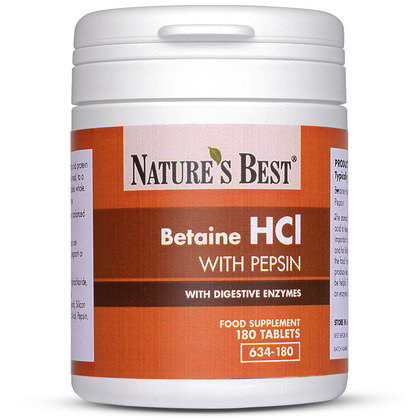 Betaine Hydrochloride With Pepsin To Help Digest Proteins